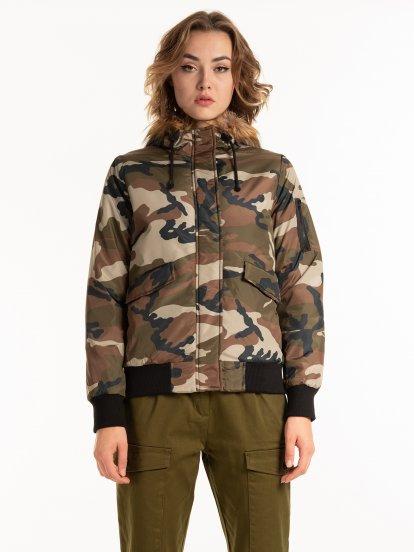 Camo print jacket with print