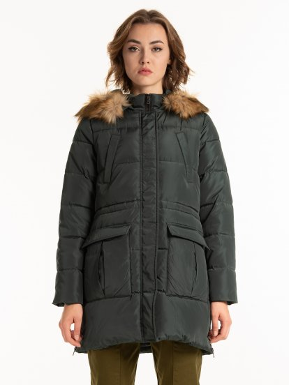 Padded jacket with removable faux fur
