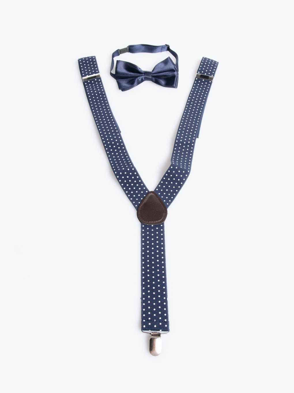 Polka dot braces and bow tie set