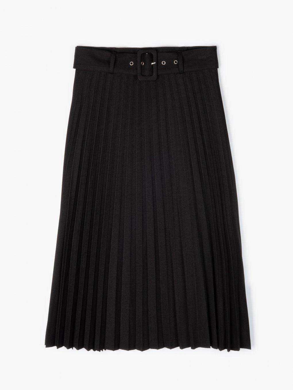 Pleated midi skirt with belt