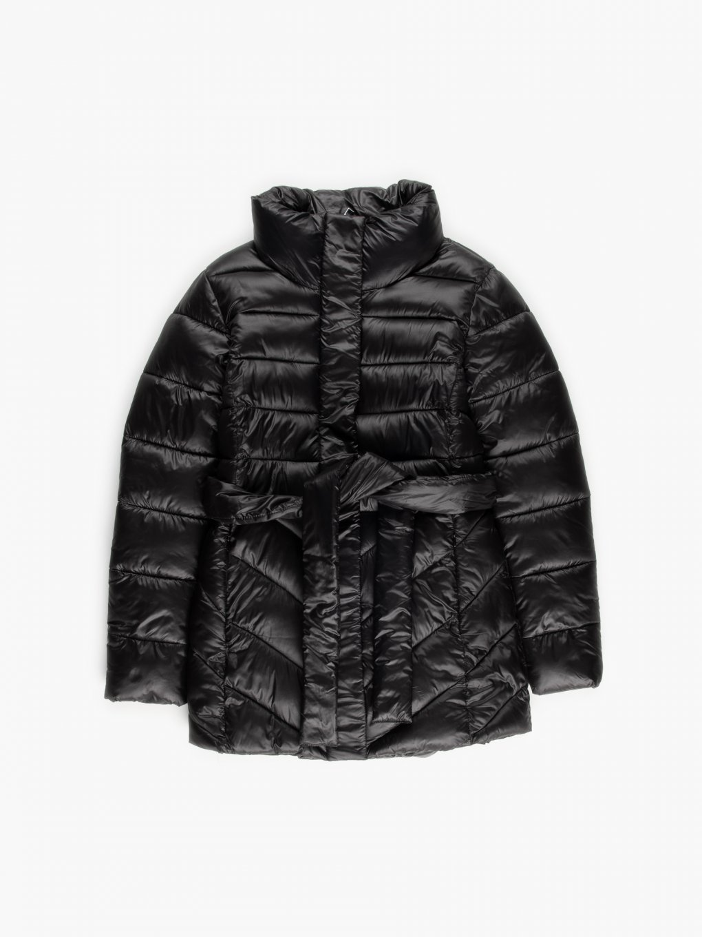 THINK GREEN: Quilted recycled polyester padded jacket with belt
