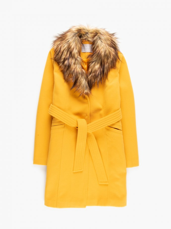 Belted coat with removable faux fur