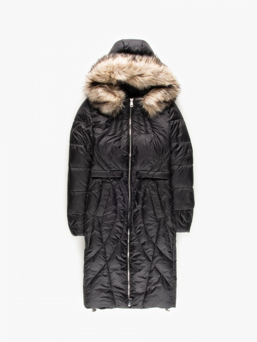 THINK GREEN: Longline quilted recycled polyester padded coat with removable faux fur
