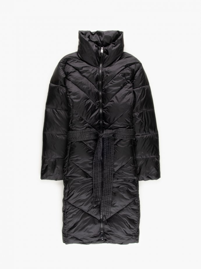 THINK GREEN: Longline recycled polyester padded coat