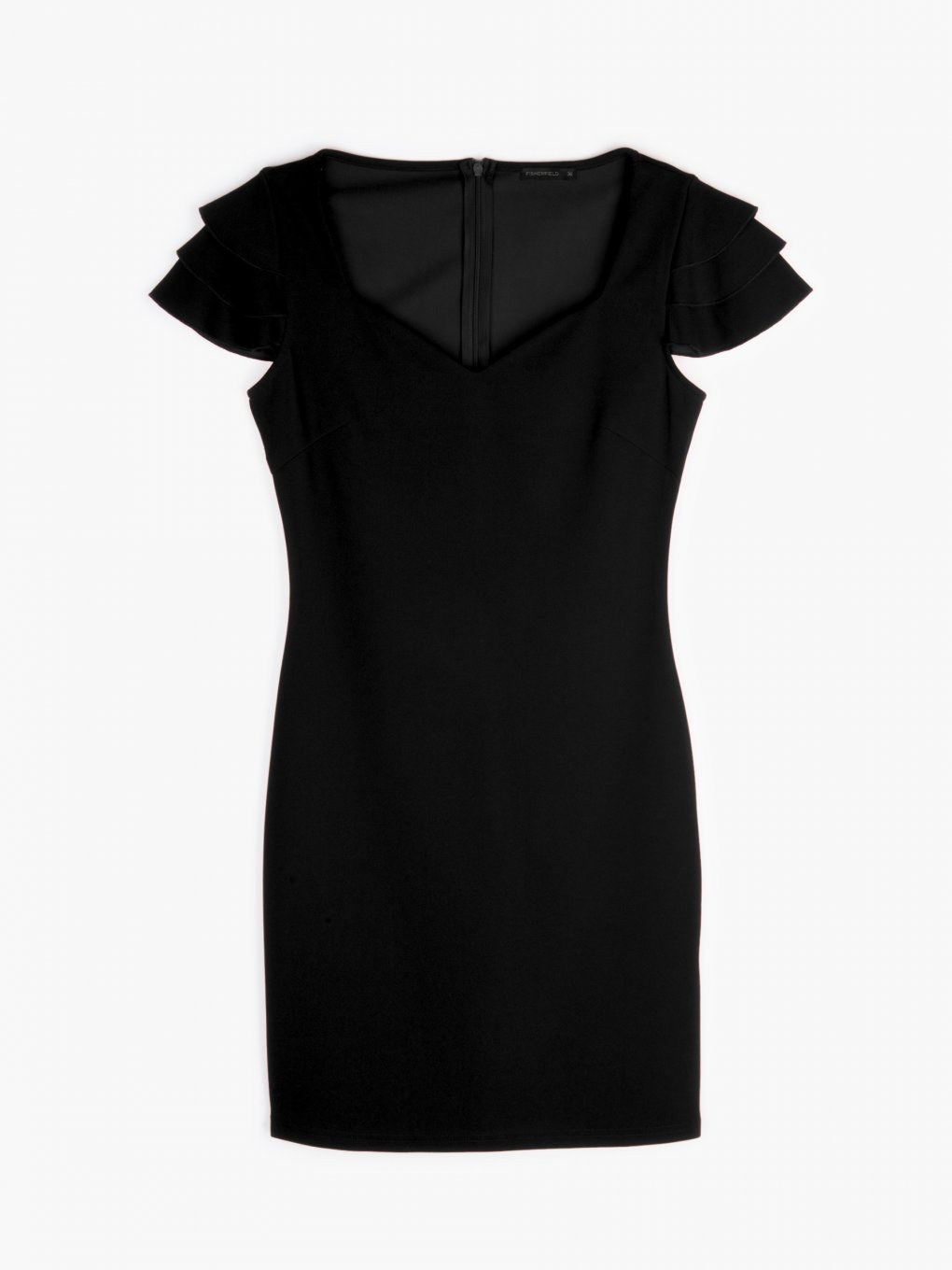 Bodycon dress with ruffled sleeves