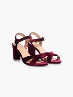 Black heel faux suede sandals