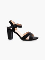 Black heel faux suede sandals
