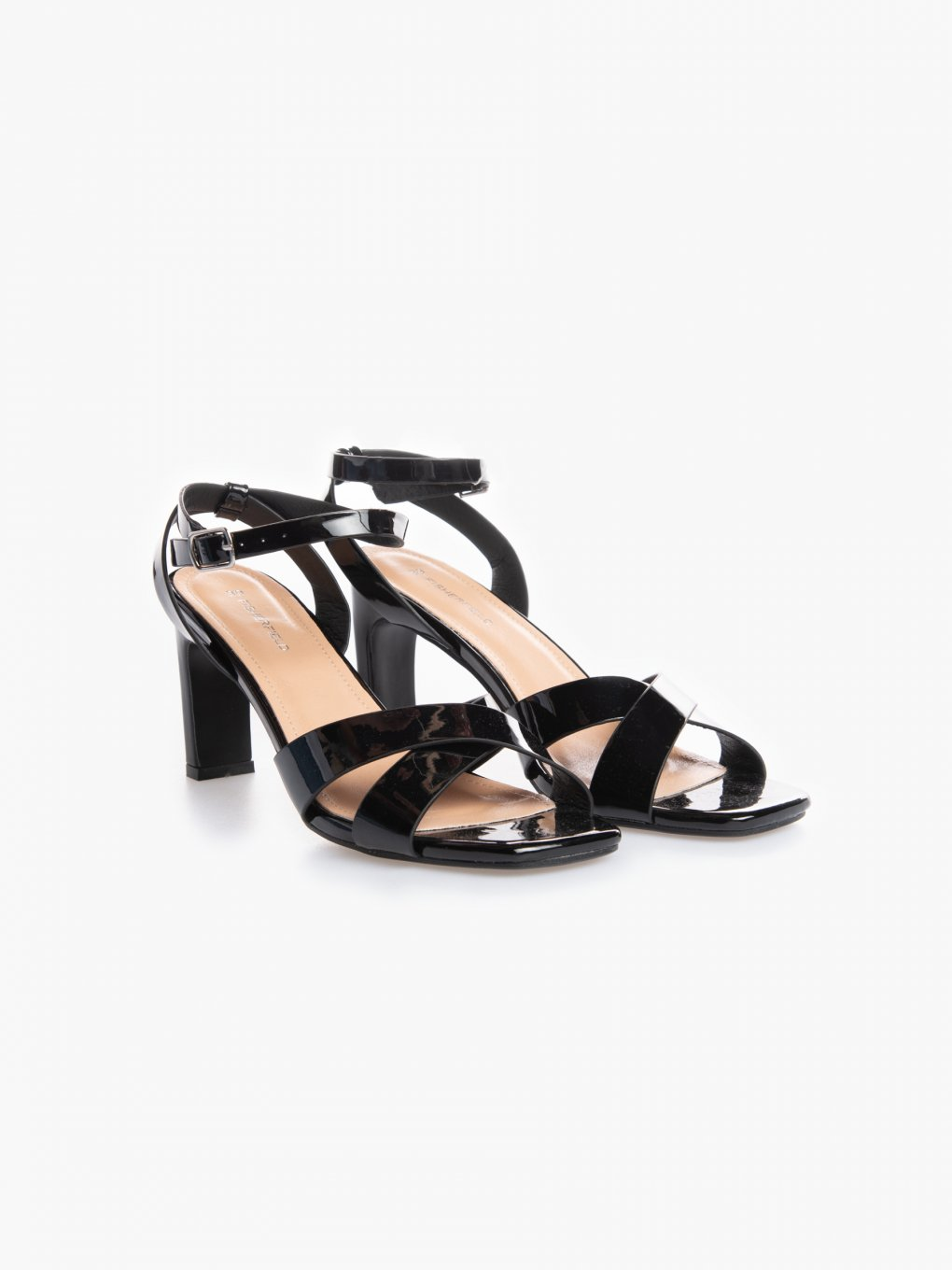 Patent finish high heel sandals