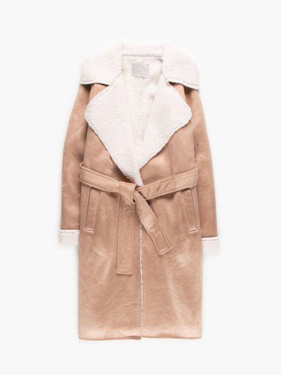 Faux seade belted coat