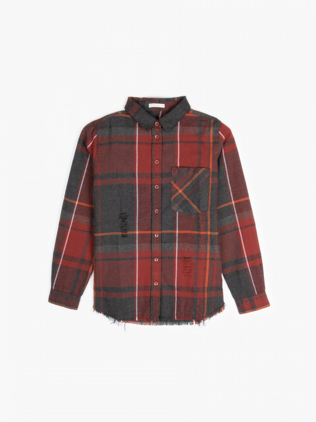 Plaid shirt with frayed edge