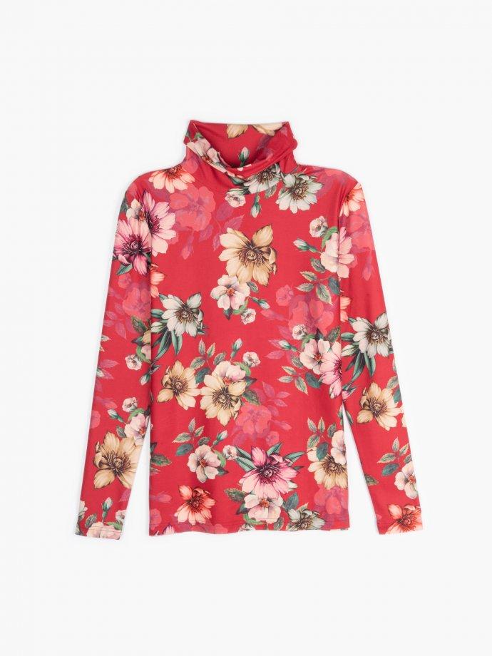 Floral print rollneck t-shirt