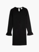 Jednokolorowa sukienka z rozkloszowanymi rękawami