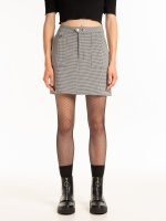 Houndstooth mini skirt with pockets