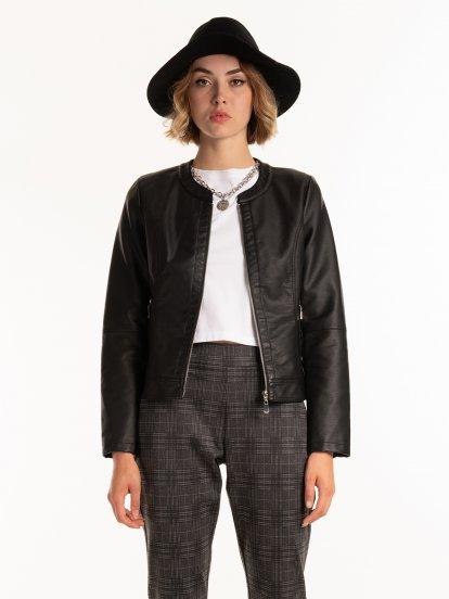 Základná bunda z imitácie kože