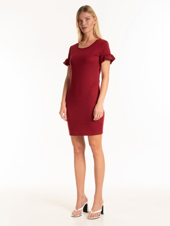 Bodycon dress with ruffle sleeves