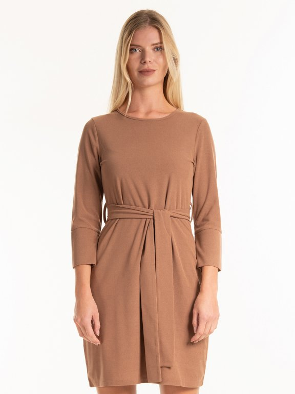 Structured dress with belt