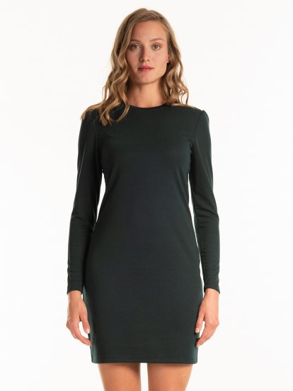 Mini dress with puffed sleeves