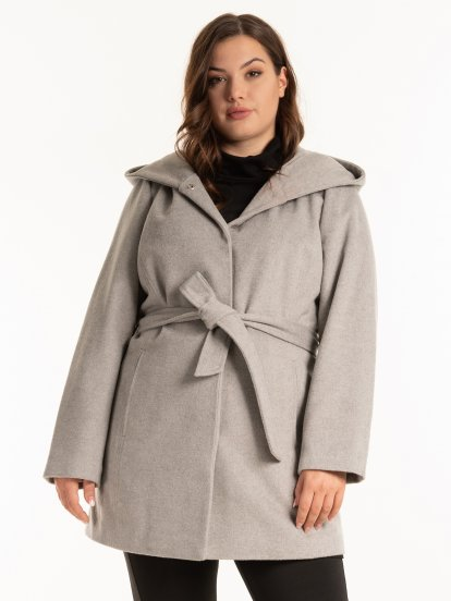 Coat with oversized hood