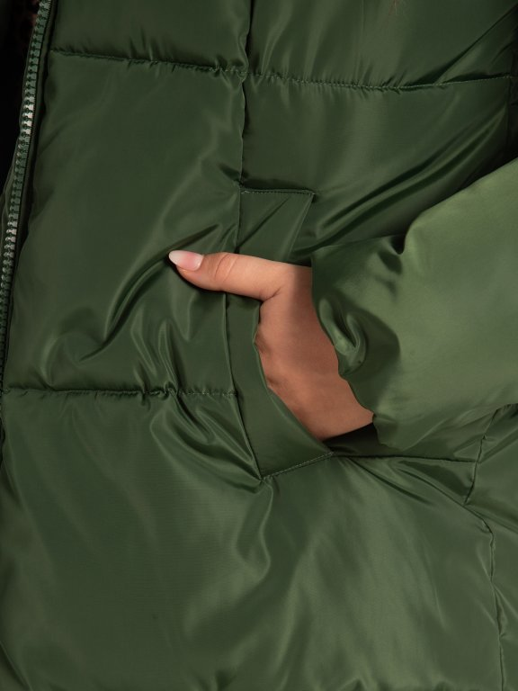 THINK GREEN: Longline quilted recycled polyester padded jacket