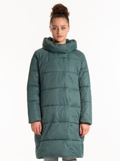 THINK GREEN: High collar quilted recycled polyester padded jacket