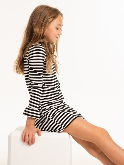 Striped dress with bell sleeves