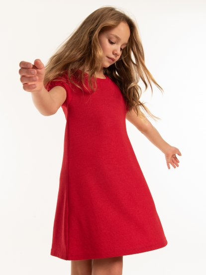 Puffed-sleeve structured dress