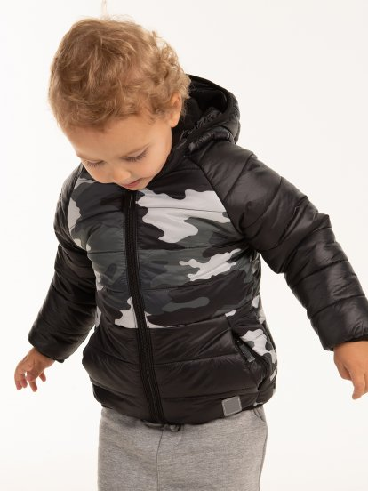Camo print fleece lined padded jacket
