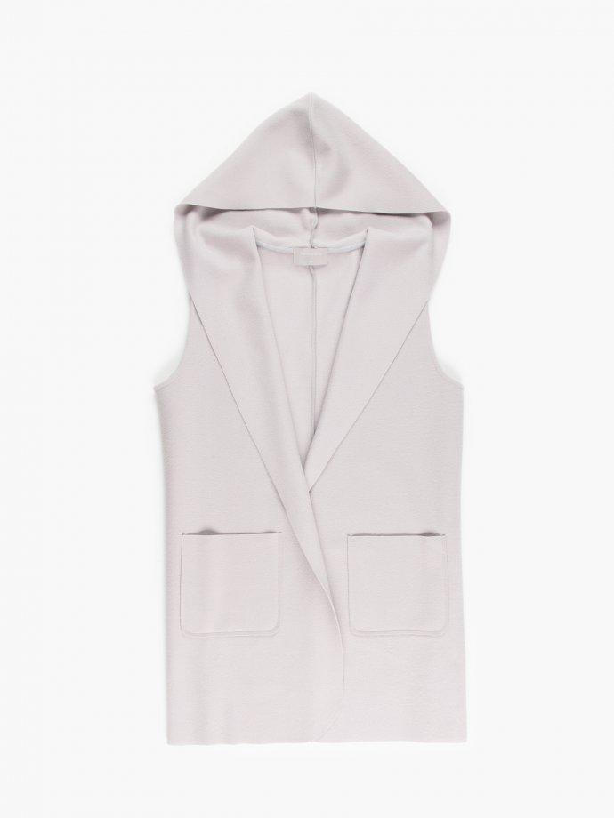 Longline vest with hood