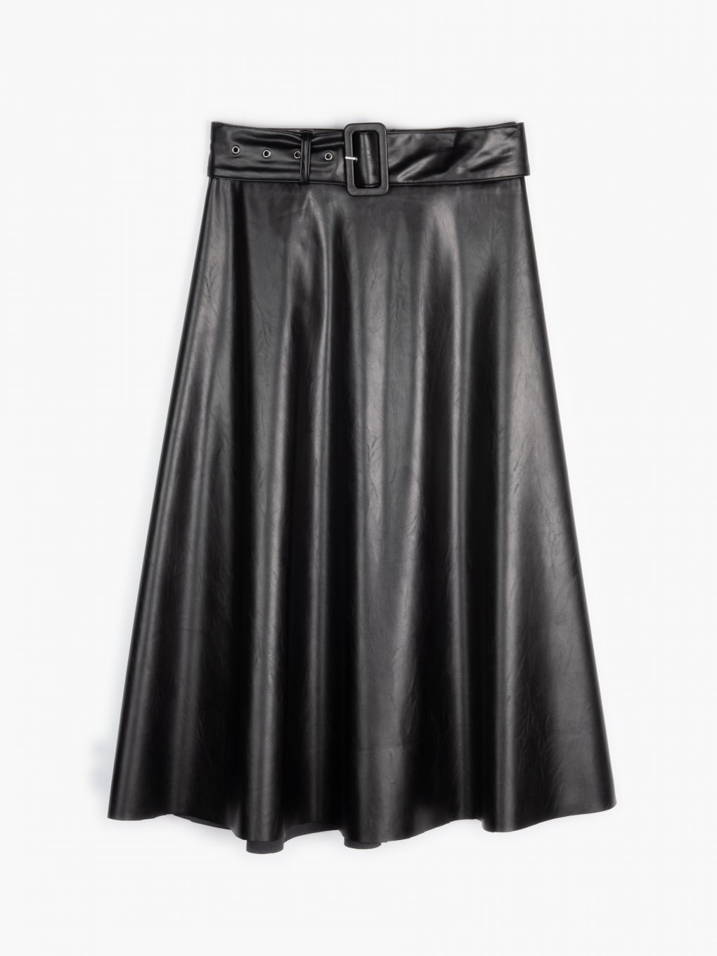 Faux leather a-line midi skirt
