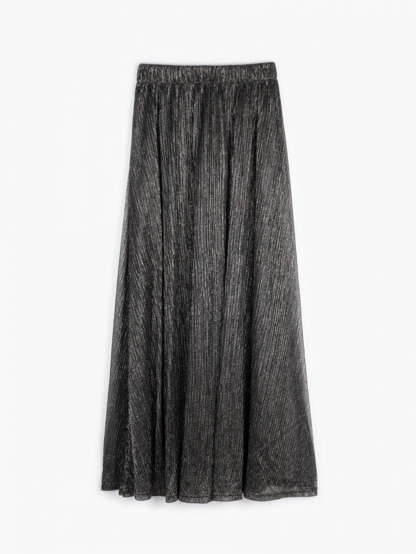 Maxi skirt with metallic fibre