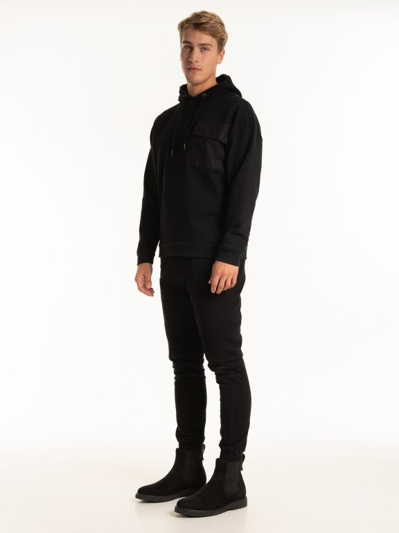 Hoody with oversized pocket