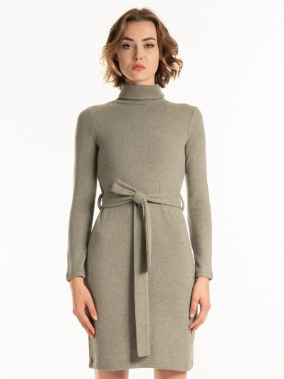 Fine knit turtleneck dress