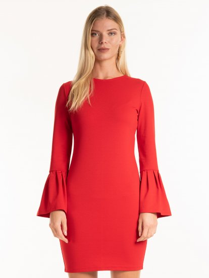 Bodycon dress with bell sleeves