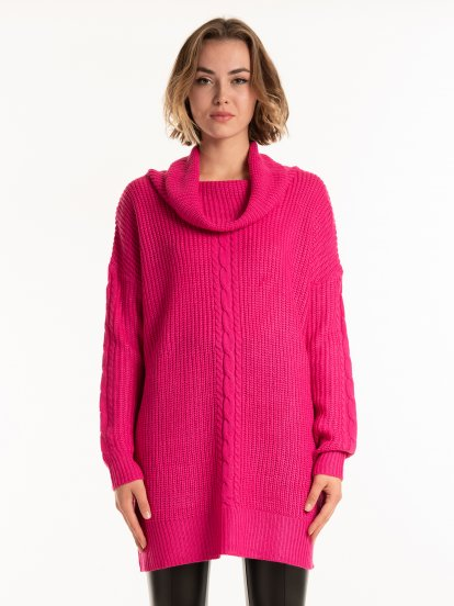 Longline roll neck jumper
