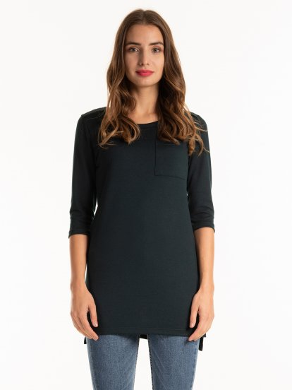 Fine knit longline top with chest pocket