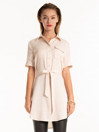 Longline blouse with chest pockets