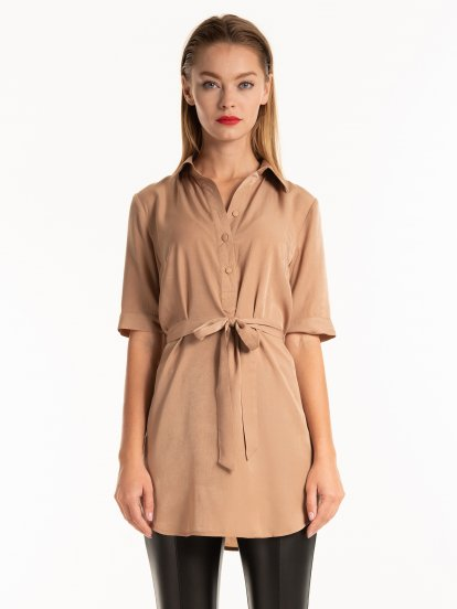 Longline blouse with belt