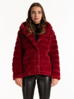 Faux fur coat with hood