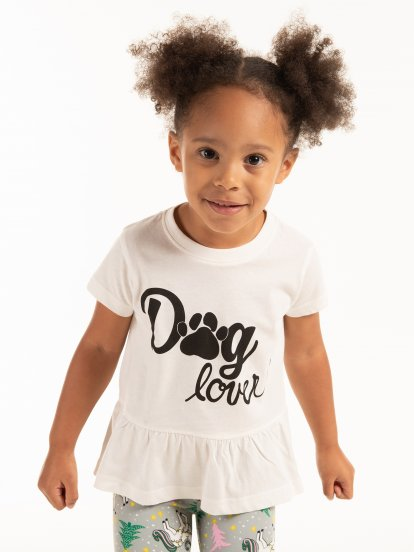 Slogan print t-shirt with ruffle