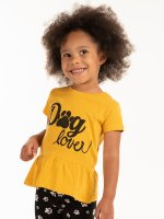 Slogan print t-shirt with ruffle