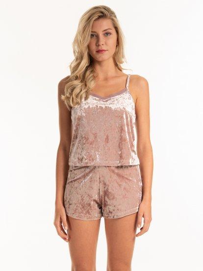 Velvet cami pyjama top