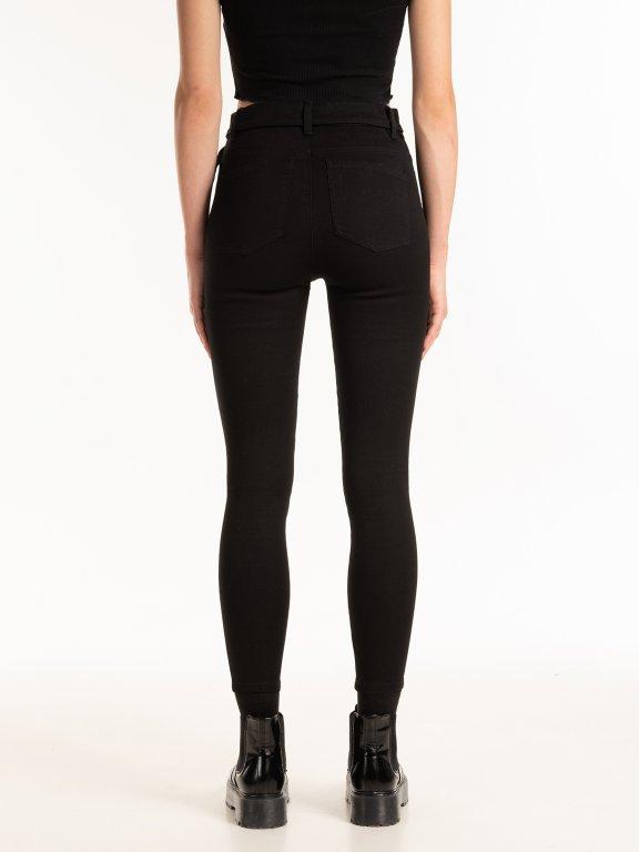 Kalhoty skinny s páskem