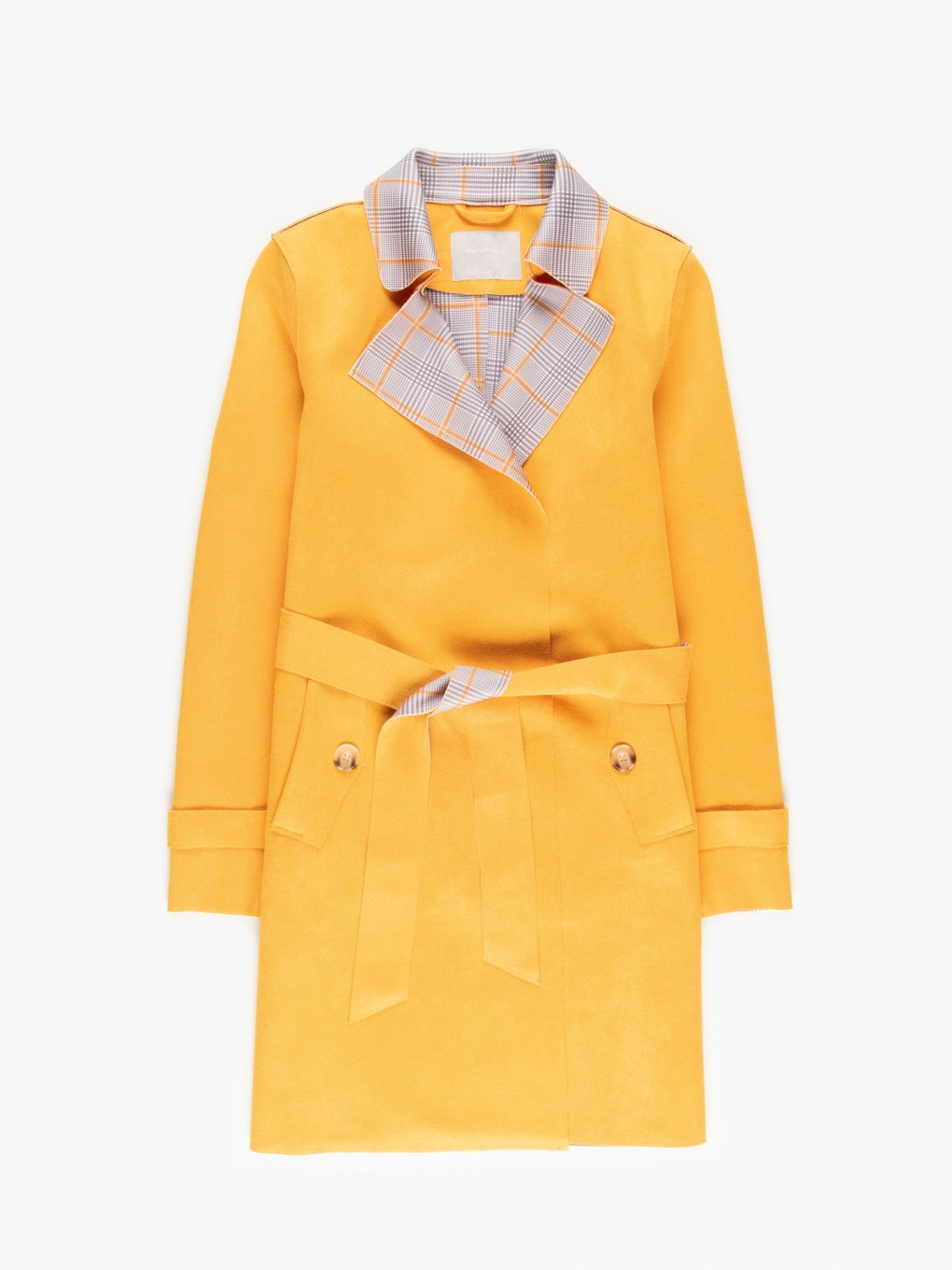 Checked lapel trench coat