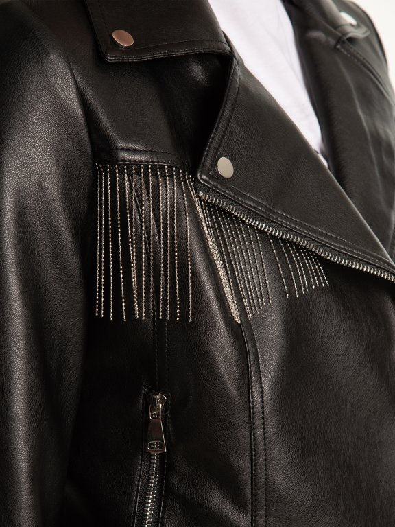Biker jacket with tassels