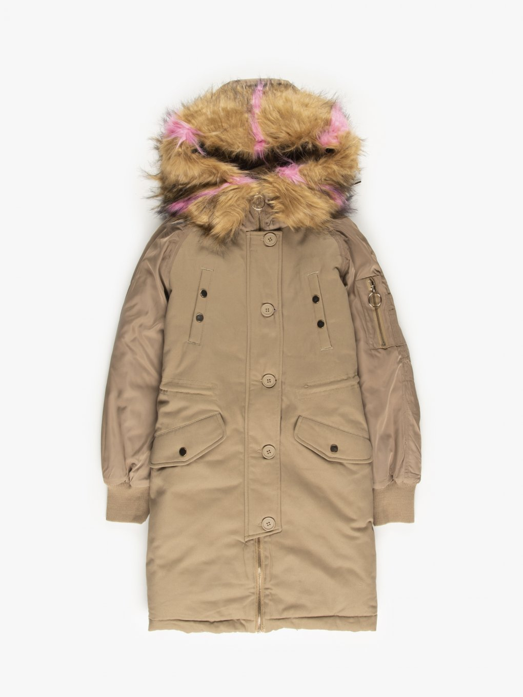 Parka with detachable faux fur