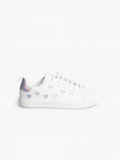 Lace-up sneakers with hearts