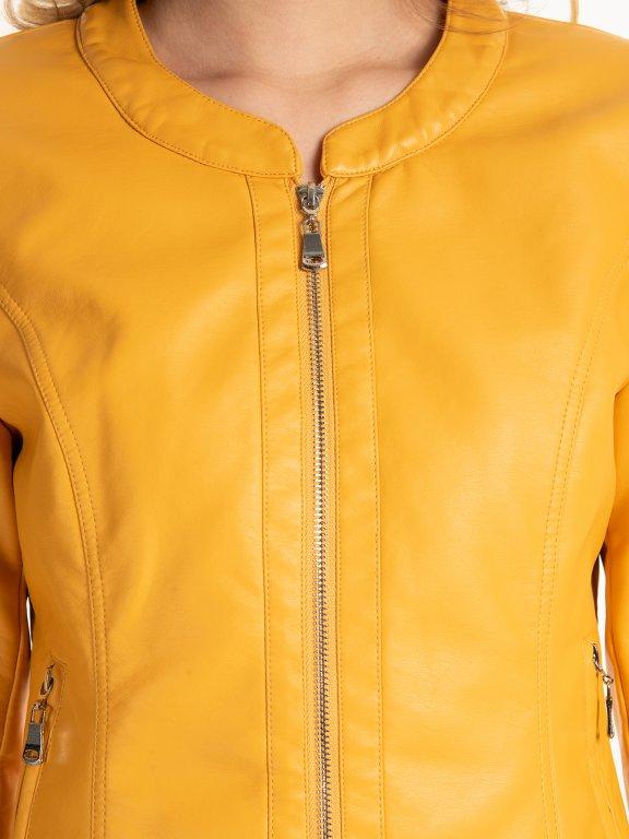 Jednoduchá bunda z imitace kůže
