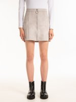Faux suede zip-up mini skirt