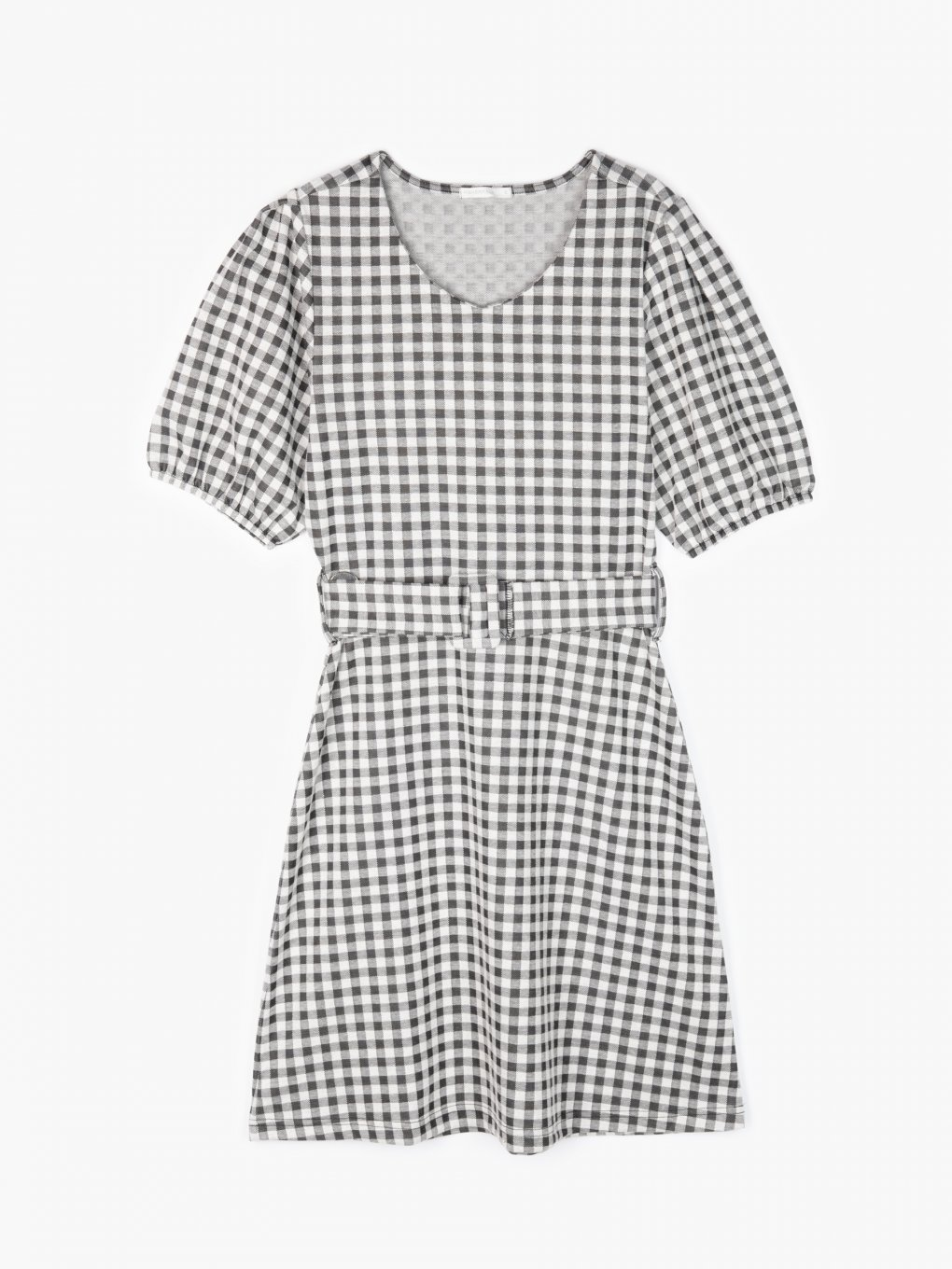 Puff sleeve gingham dress