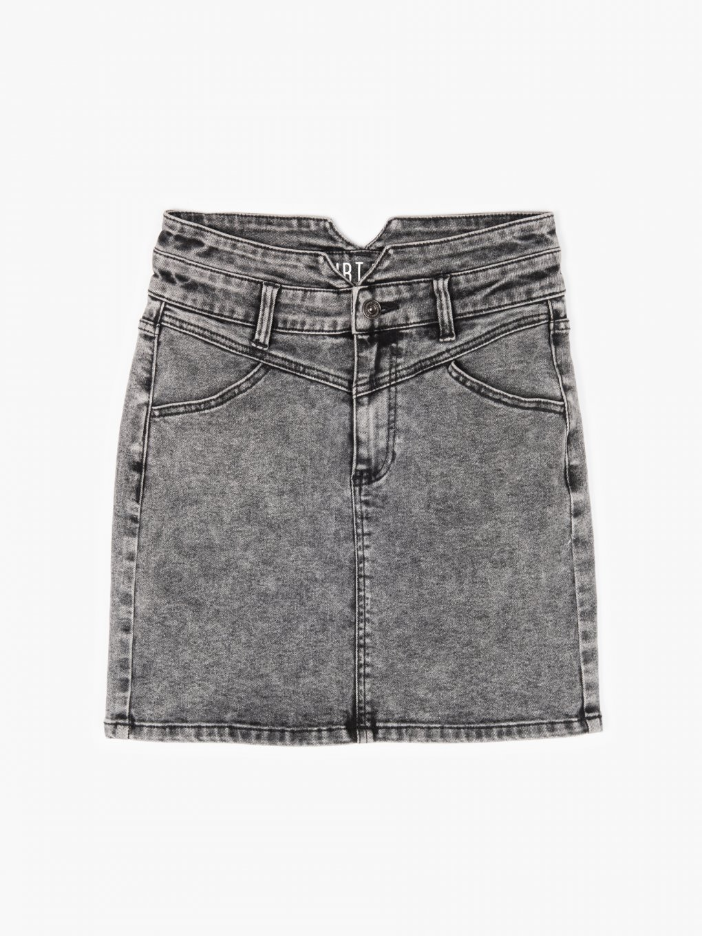Acid wash denim mini skirt